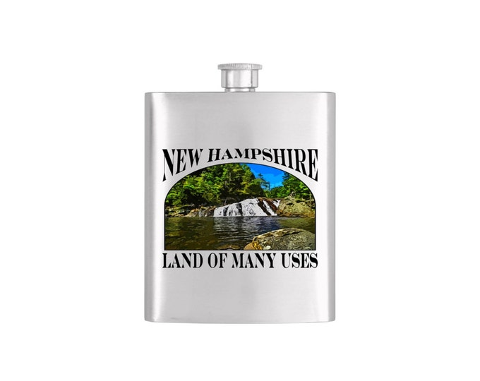 New Hampshire Land of Many Uses Profile Falls Flask - Stainless Steel 7 oz Liquor Hip Flask - Flask#Profile Falls