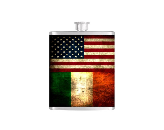 Rustic USA and Irish Flag Personalized Groomsman Wedding Party Flasks - Flask#376