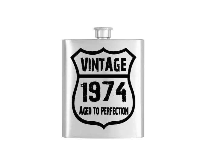 Vintage Birth Year Aged To Perfection Flask with Funnel Stainless Steel 7 oz Liquor Hip Flasks - Flask #130