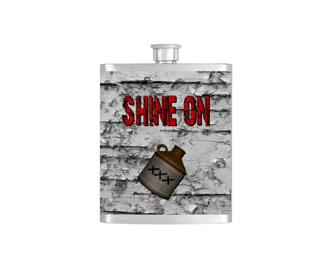 Shine On Moonshine Batchelor Groomsmen Flask with Funnel Stainless Steel 7 oz Liquor Hip Flasks - Flask #136