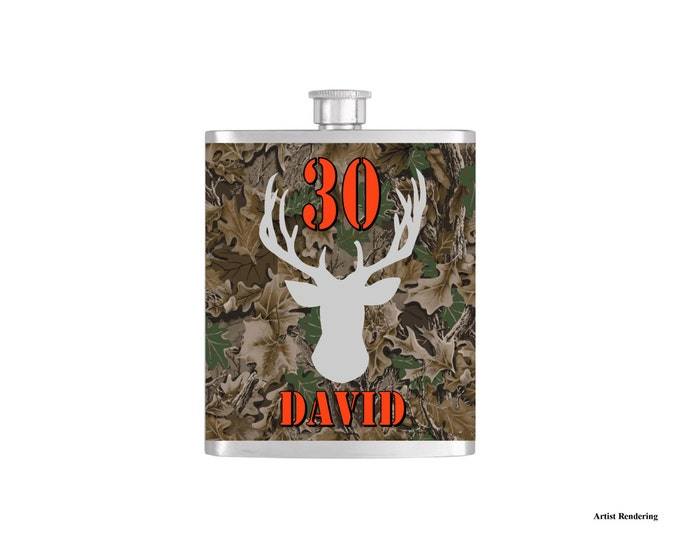Over The Hill 30th Deer Camoflauge Hunter Orange Birthday Flask By Bottoms Up Flasks  - Stainless Steel 7 oz Liquor Hip Flasks - Flask #295