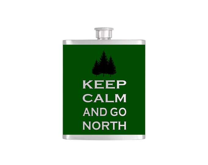 New Hampshire Keep Calm and Go North with FREE Funnel - Mens Stainless Steel 7 oz Liquor Hip Flasks - Flask #260