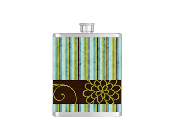 Brown and Teal Stripe Pattern Bridesmaids Gifts - Stainless Steel 7oz Liquor Hip Flasks or  - Flask #187