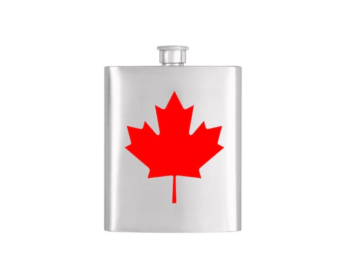 Canadian Flag Flask By Bottoms Up Flasks  - Stainless Steel 7 oz Liquor Hip Flasks - Flask #339