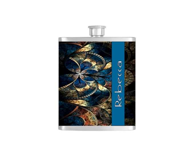 Personalized Flask Name Monogram on Stain Glass Pattern Wallpaper Bridesmaid Gift - Stainless Steel 7oz Liquor Hip Flask - Flask#19