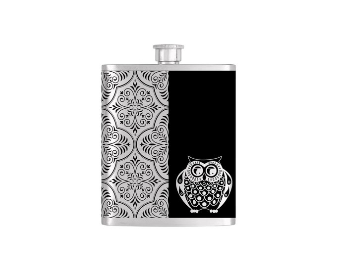 Owl Moroccan Patter Black & White Music Note Bridesmaid Flask By Bottoms Up Flasks  - Stainless Steel 7oz Liquor Hip Flasks - Flask #281