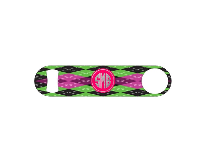 Green and Pink Plaid Monogram Bottle Opener / Bar Blade By Bottoms Up Flasks  - Stainless Steel - BtlOpener #13