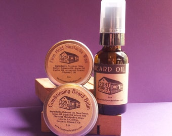 Super Beard Care Set - Beard Oil, 1 oz Beard Balm & 1 oz Mustache Wax