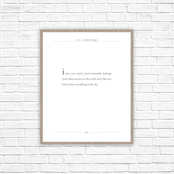 Ee Cummings Poem Quote I Love You Much Poem Print Most Etsy