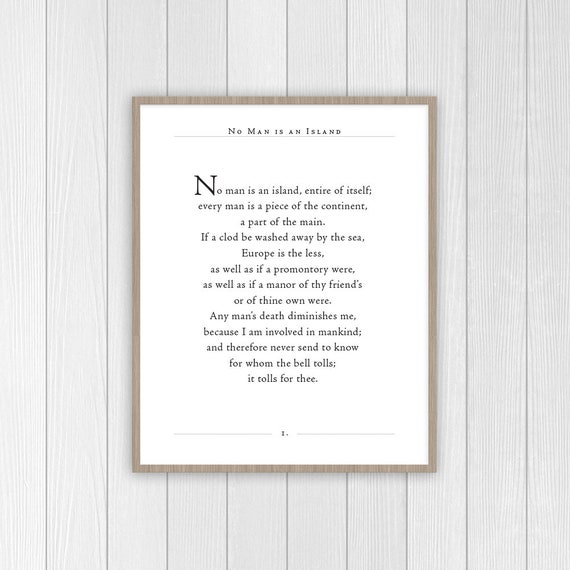 No Man Is An Island Quote For Whom The Bell Tolls Poem John Dunne Poem Quote Print Classic Poetry Quote Gift For Book Lover