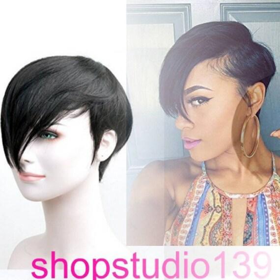 Human hair short and sassy custom made wig