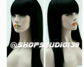 Beautiful  human hair handmade long black wig with  Chinese bang