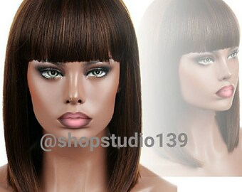 Custom made and colored Bob with bangs
