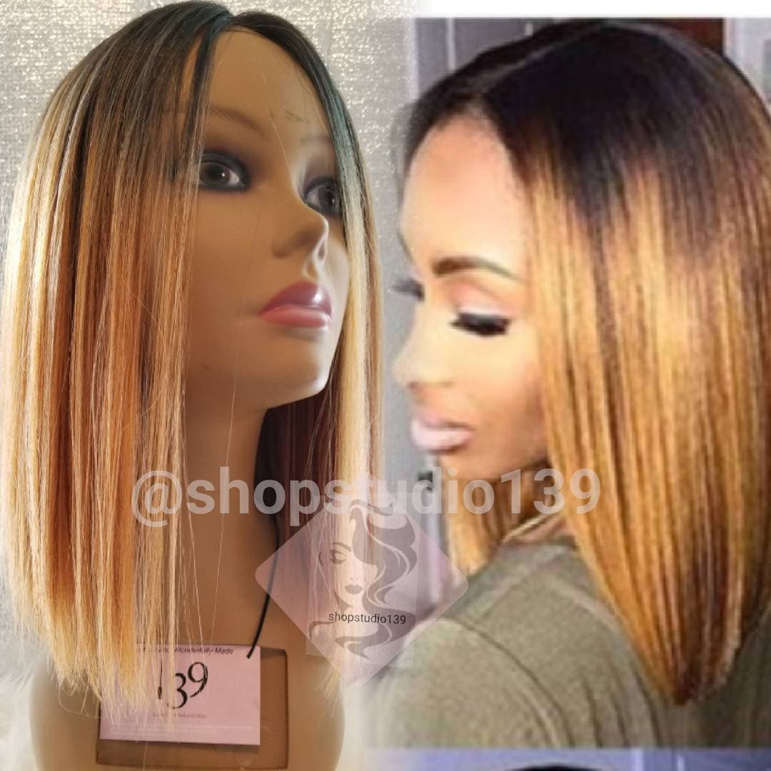 Human Hair Blunt Cut Bob Non Lace Per Plucked Natural Part Wig Etsy