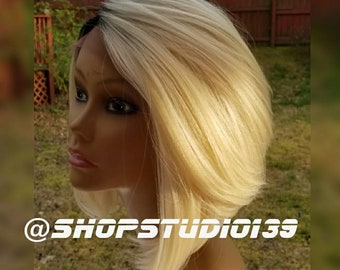 Beautiful blonde ombre  human hair lace front wig