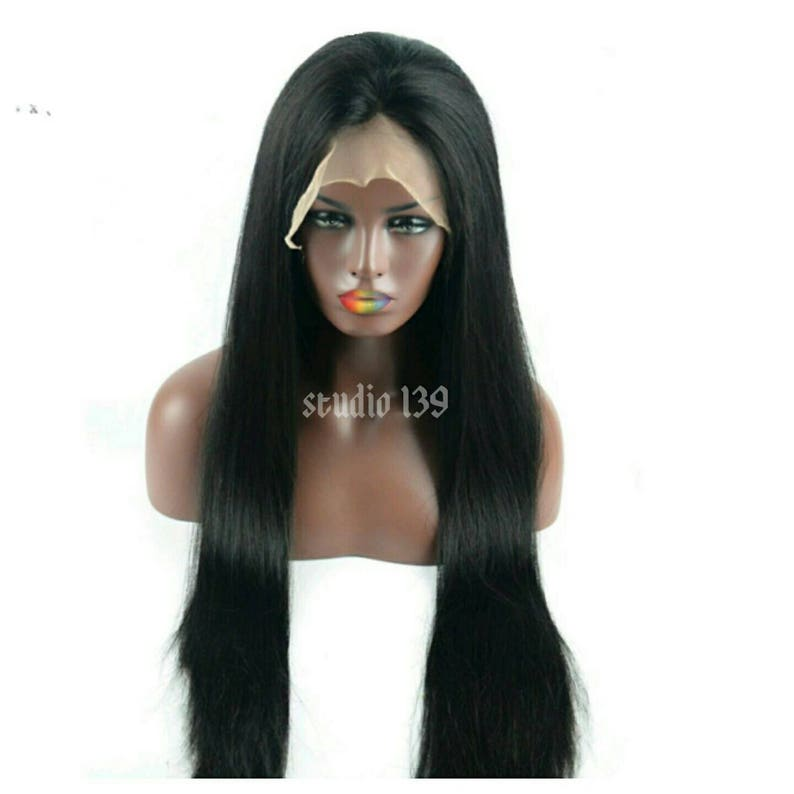 Black straight lace front 30inch wig