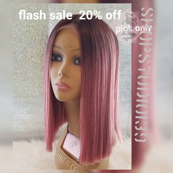 Human Hair Lace Front Pink Blunt Cut Bob With Dark Roots Etsy