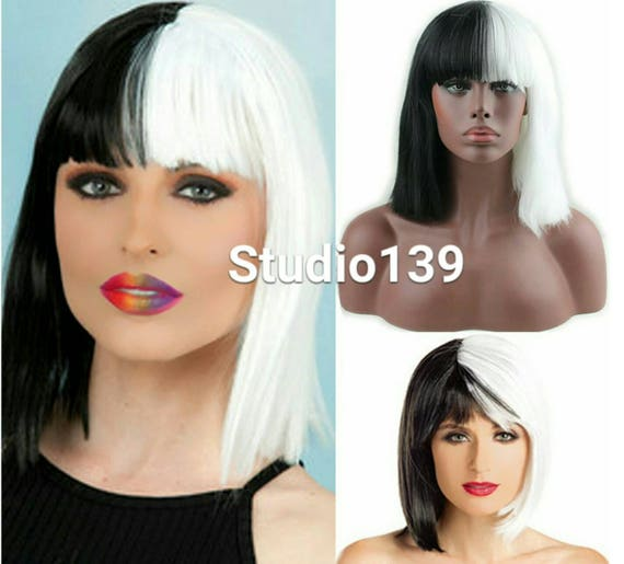 Sexy Blunt Cut Bang Bob Synthetic Wig Half Black Color Half Etsy