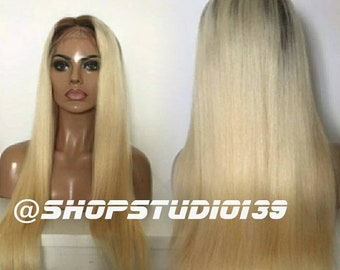 100% Human hair Blonde ombre lace front wig 1b/613