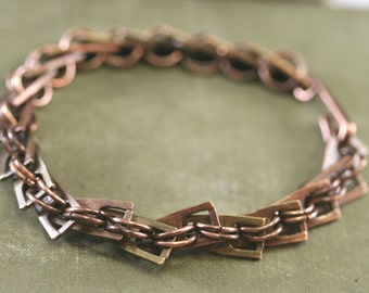 Mixed Metal Bracelet, Mixed Metal Chain Bracelet, Brass Copper Bracelet, Chain Bracelet, Copper Bracelet, Link Bracelet, Chain Link Bracelet