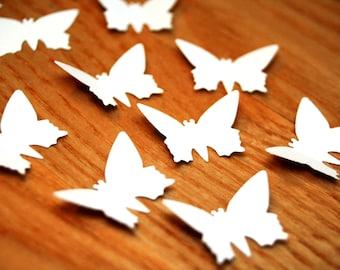 150 White Paper BUTTERFLIES, 1 inch Die cut butterflies, White butterflies, baby shower decor, wedding butterflies, butterfly garland