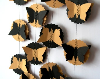 Black and gold party decor, Gold and black party decor, Black and gold backdrop, Butterfly garland, Black and gold decorations