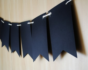Black pennant banner, Large Black Flag bunting , Pennant garland,  Birthday banner, Bunting flag, Black garland, Wall hanging room decor