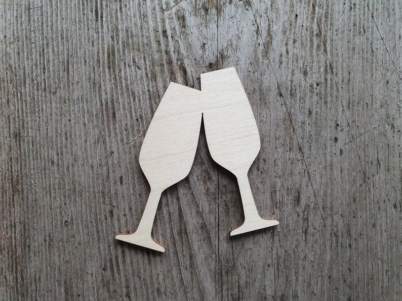 Champagne flute glass shape Unfinished Wood Laser Cut Champagne glass cut out Cutout Shapes for crafts and decorations MULTIPLE SIZES