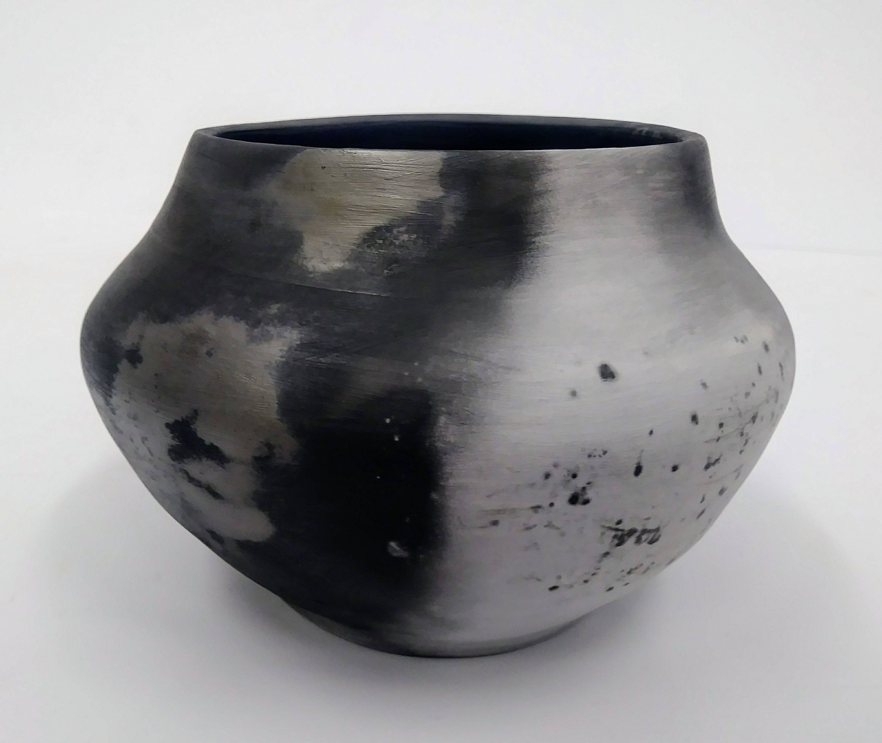 Black And White Saggar Fired Pottery Abstract Vessel Perfect For