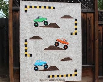 Monster Truck Jam, Multi-Size Intermediate Quilt Pattern, PDF Download, Boy, Man, Guy Quilt Gift
