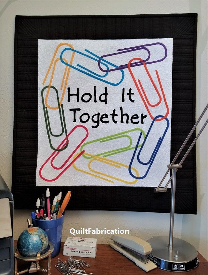 Paperclips Hold It Together Wall Hanging Kona Solids Modern image 0