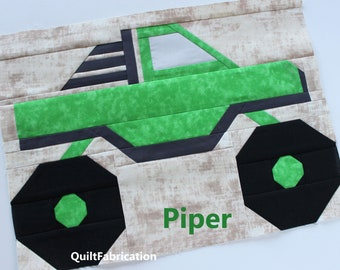 Monster Truck Quilt Block Pattern, Piper, Instant PDF Download, Beginner Pattern