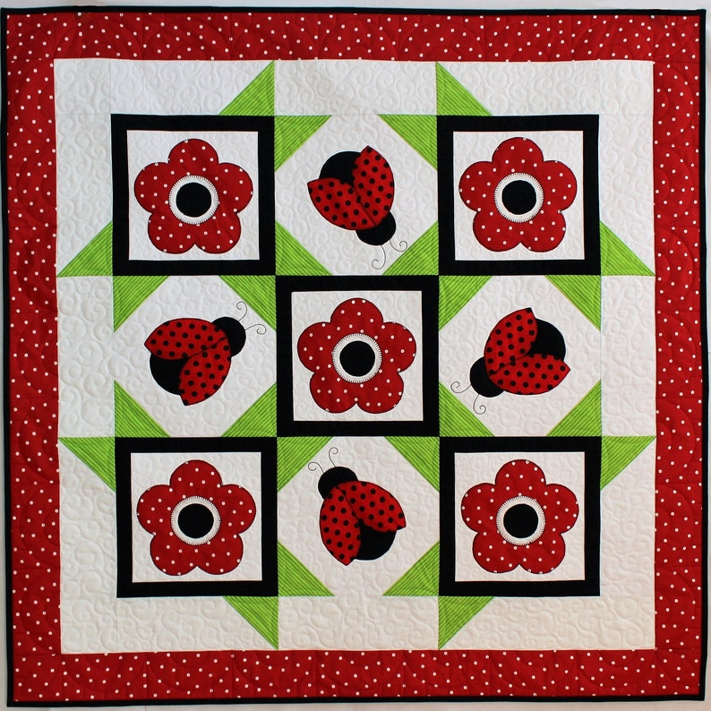 Ladybug Dance Quilt Pattern Applique Quilt Baby Quilt Wall image 0
