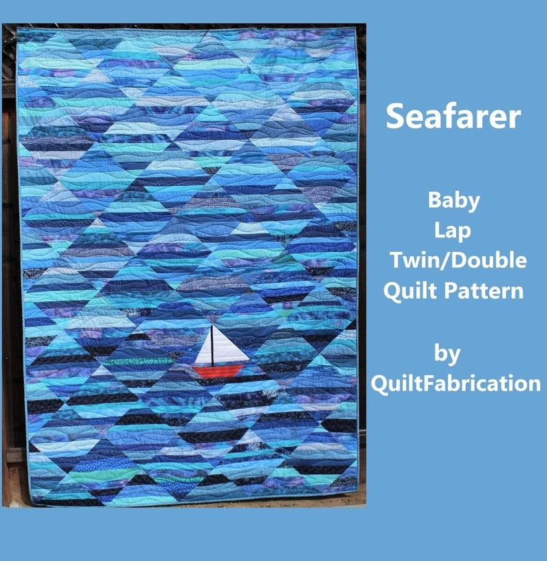 Seafarer Quilt Pattern Sailboat Ocean Nautical Water image 0