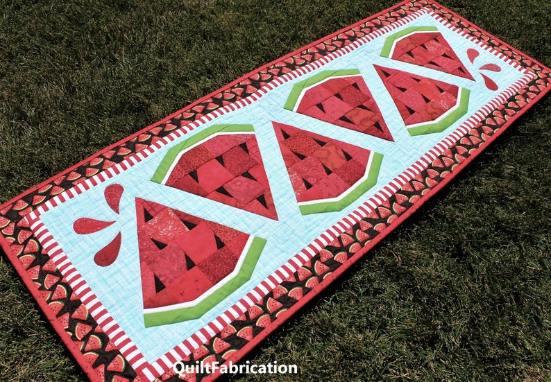 Watermelon Twist Picnic Table Runner Decoration PDF Quilt image 0