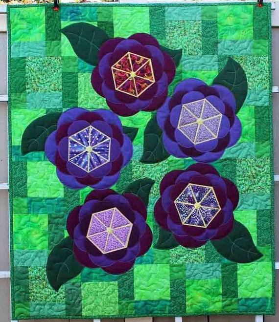 Purple Floral Quilt Doll Quilt Centerpiece Wall Hanging