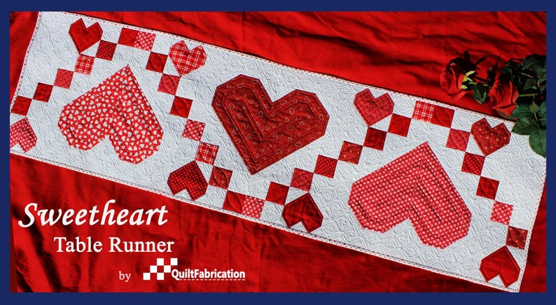 Sweetheart Table Runner Table Decor Quilt Pattern Hearts image 0