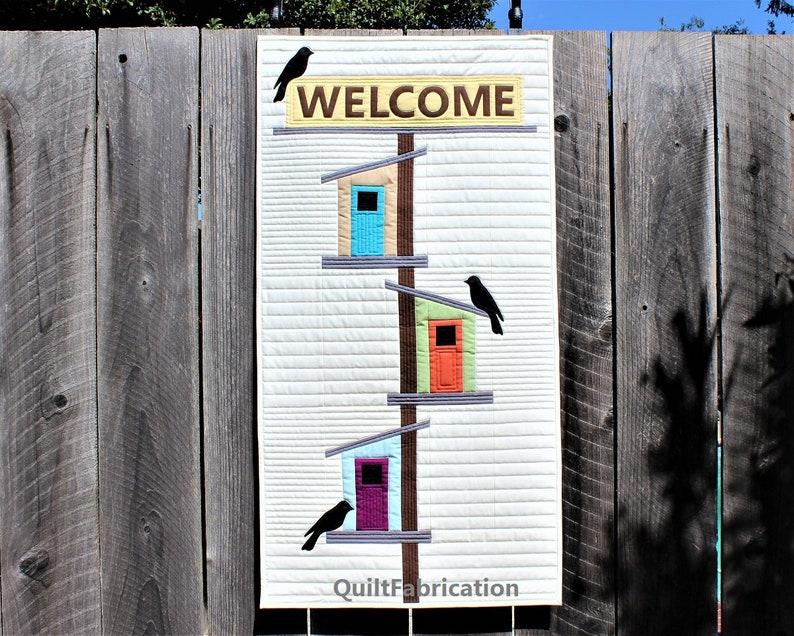 Welcome to My Birdhouse Wall Hanging Modern Black Bird PDF image 0