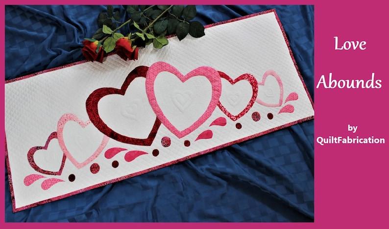 Valentine Table Runner Hearts Valentines Quilt Pattern image 0