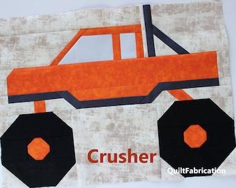 Monster Truck Quilt Block Pattern, Crusher, Instant PDF Download, Beginner Pattern