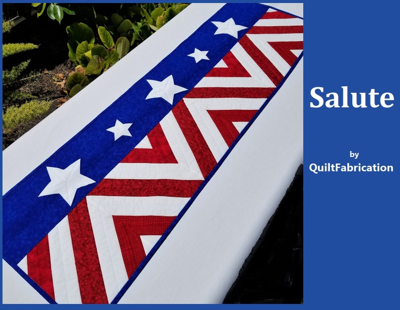 Salute Runner 4th of July Red White Blue Quilt image 0
