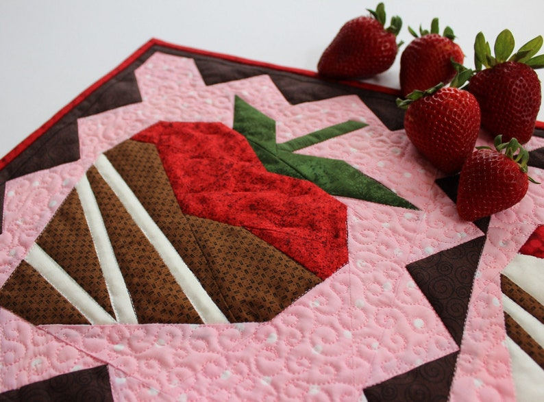 Chocolate Dipped Strawberries Table Runner PDF Paper Pieced image 0