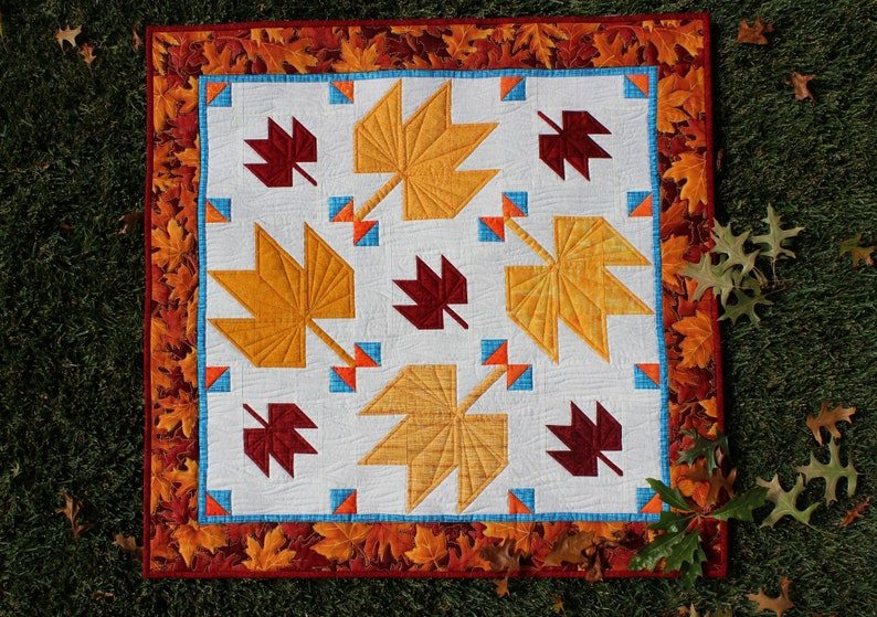Fall Leaves Easy Multi Size Quilt Pattern Fall Leaf Decor image 0