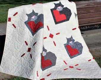 Wrap Up Some Love, Easy Cat Quilt, Multi Sized Pattern, Instand PDF Download