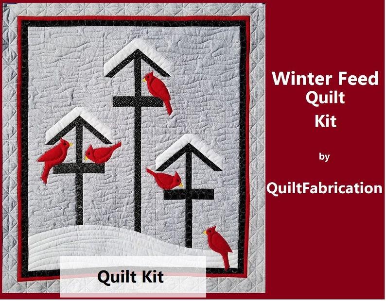 Winter Feed Quilt Kit Bird Feeder Wall Art Cardinals Bird image 0