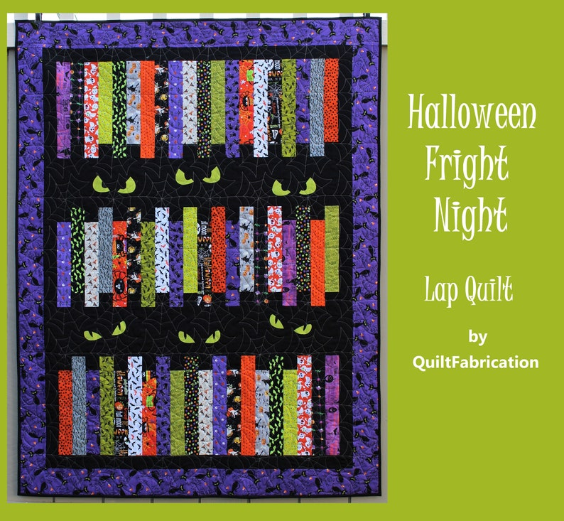 Halloween Fright Night Easy Lap Quilt Pattern Strip Quilt image 0