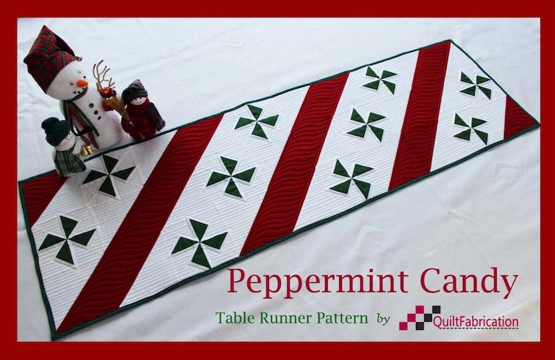 Peppermint Candy Table Runner Christmas Runner Quilt image 0