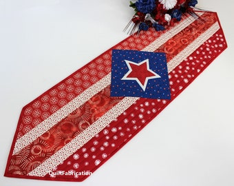 Patriot Table Runner, Easy Beginner Quilt Pattern, Fourth of July Decor, Red, White, Blue Table Decor