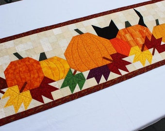 Pumpkat Patch Table Runner, Fall Leaves Table Decoration, Easy Quilt Pattern