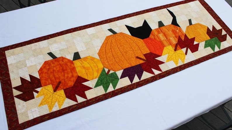 Pumpkat Patch Table Runner Fall Leaves Table Decoration Easy image 0